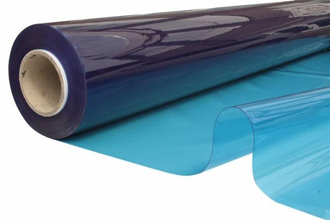 Transparant Zeltfensterfolie FR 140 cm, 0,65 mm, blauw